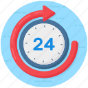 24hr availability, 24hr services, 2hr support, clock, quick, timely service icon