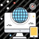 globe, marketing, monitor, share sign, target icon