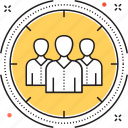 audience, customers, focus, target market, target users icon