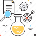 analysis, experiment, flask, research, target icon