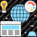 flask, globe, market analysis, market research, web icon