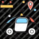 car, map pin, tour, transport, travel icon