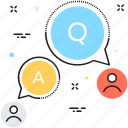 answer, ask, chat bubble, faq, question icon