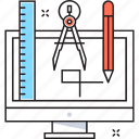 designing, drafting, drawing, graphic, monitor icon