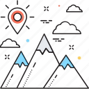 achievement, mission, mountain, peak, success icon