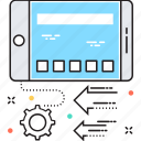 arrows, cog, data share, mobile, mobile ui icon