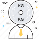 kg, kilogram, man, weight, weight measuring icon