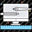 artwork, graphic designing, monitor, pencil, web designing icon