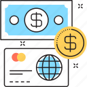 banking, banknote, credit card, dollar, money icon