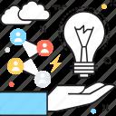 bulb, generating idea, idea, idea development, segmentation icon