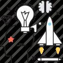 brainstorming, creativity, idea, rocket, thinking icon