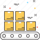 conveyor belt, logistics delivery, package, shipping icon