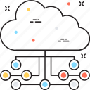 cloud computing, cloud connection, cloud hosting, cloud network, cloud sharing icon