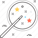 creativity, magic stick, magic wand, problem solving, solution trick icon