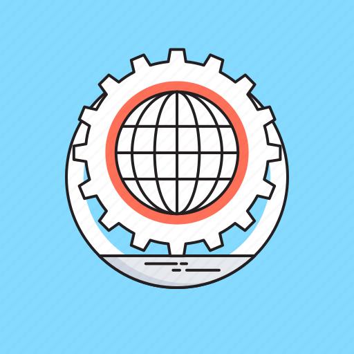 affiliate, cog, globe, marketing, network icon