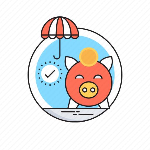 dollar, money box, piggy bank, savings, umbrella icon