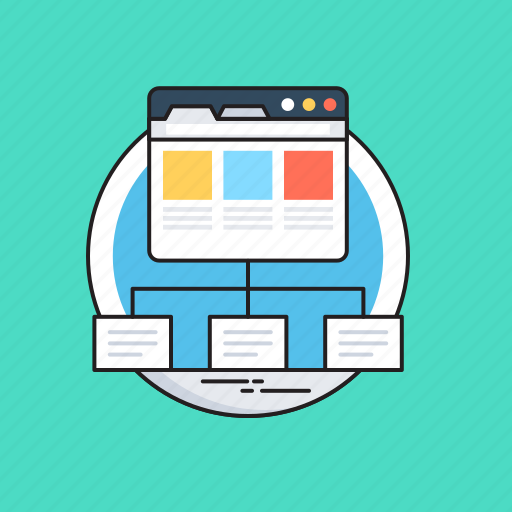 hierarchy, layout, template, web, wireframe icon