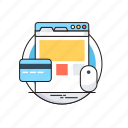 banking, credit card, ecommerce, mouse, online shopping icon