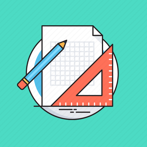 Blueprint, drafting, pencil, set square, sketching icon - Download on Iconfinder