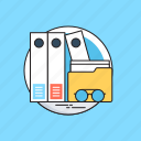 archives, folders, glasses, office documents, paperwork icon