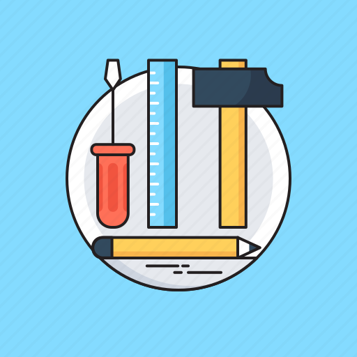 Hammer, pencil, scale, screwdriver, tools icon - Download on Iconfinder