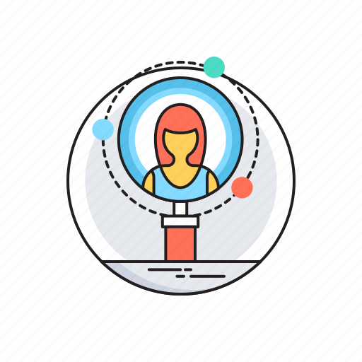 female, find person, human resources, magnifier, searah icon