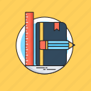 book, designing, draft tools, illustration, vectors icon