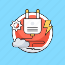 cloud, cogwheel, electricity, plugin, thunder icon
