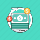 banknotes, cash, dollar, money, paper money icon