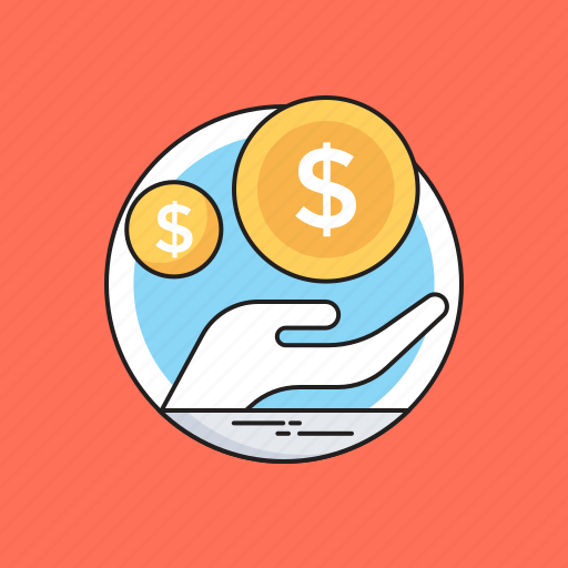 banking, dollar, hand, loan, secure icon