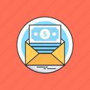 banking, dollar, email, envelope, sms banking icon