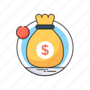 currency, dollar, investment, money sack, sack icon