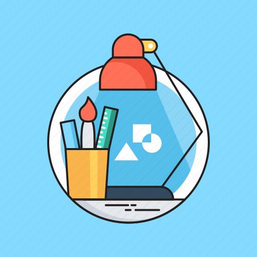 Design studio, freelancer, graphics designing, studio, workstation icon - Download on Iconfinder