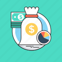 dollar, investment model, money sack, paper money, pie graph icon