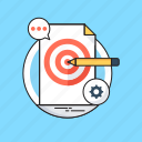 chat bubble, cogwheel, goals, pencil, target icon