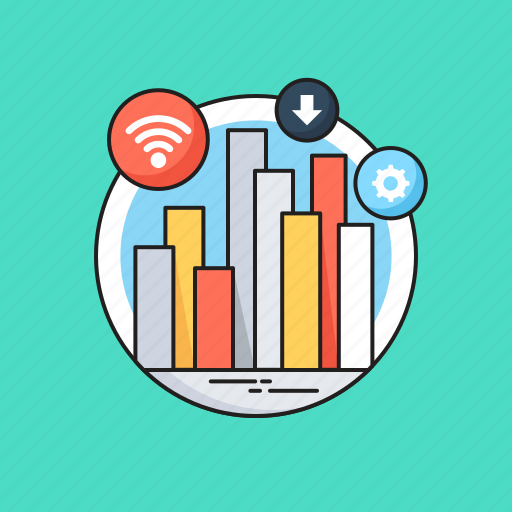 bar graph, big data, business, cogwheel, data analysis icon