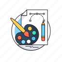 art, paint brush, painting, pencil tool, print icon
