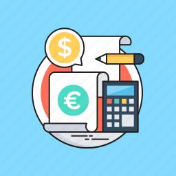 accounts, bill, calculator, dollar, pencil icon
