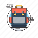 bag, first class, school, school bag, study icon