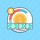 banknote, coins, dollar, money management, paper money icon