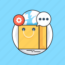 chat bubble, e commerce, globe, shopping, shopping bag icon