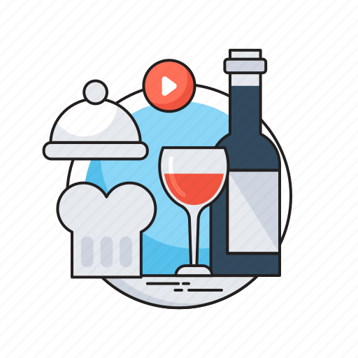 chef hat, hotel services, platter, restaurant, wine icon