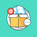 box, branding, globe, logistics, packaging, shipment icon