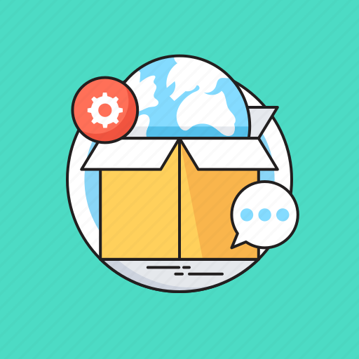 Box, branding, globe, logistics, packaging, shipment icon - Download on Iconfinder