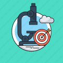 analysis, market research, microscope, research, target icon