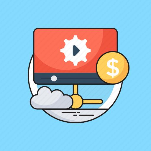 media, multimedia, networking, video marketing, video server icon