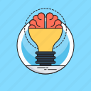 brain, brainstorming, bulb, creative idea, innovative icon
