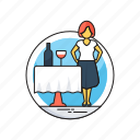 alcohol, hotel service, restaurant, waiter, wine icon