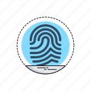 biometric, data, identity, scanning, thumbprint icon