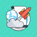 business, globe, launch project, rocket, startup icon